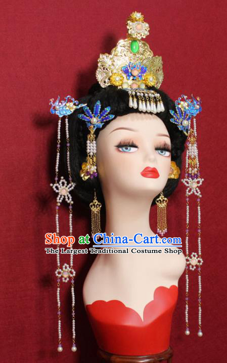 Traditional Chinese Ancient Queen Cloisonne Phoenix Coronet Hair Crown Handmade Hair Jewelry Hairpins Golden Hair Accessories for Women