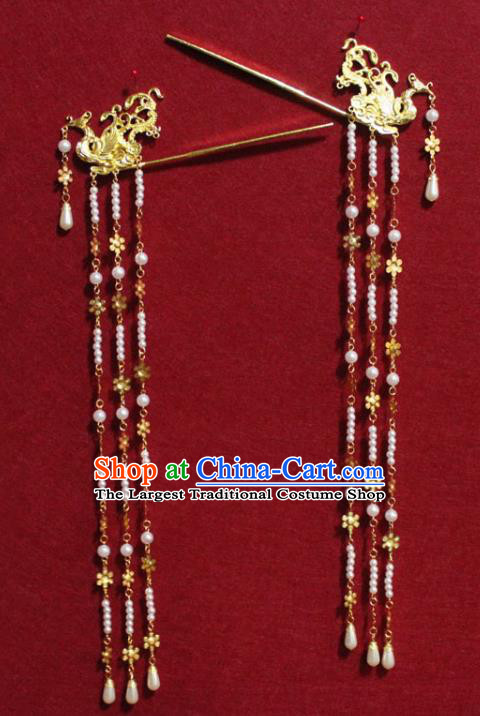Traditional Chinese Handmade Golden Phoenix Hair Clips Ancient Queen Pearls Tassel Hairpin Hair Accessories for Women