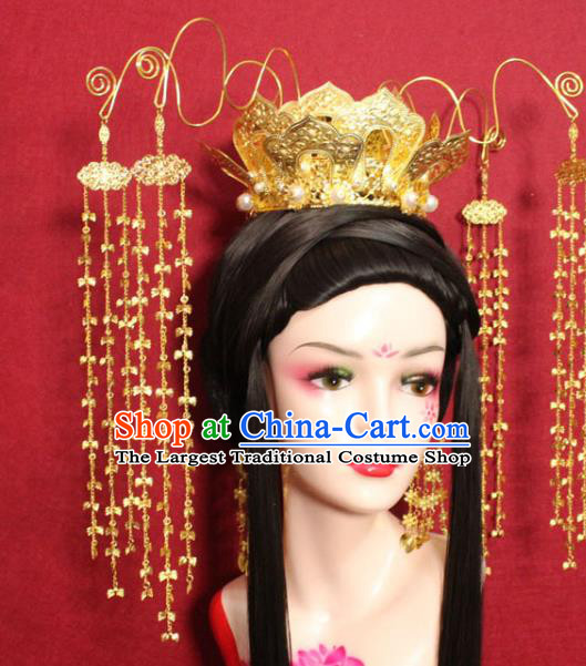 Traditional Chinese Ancient Empress Hair Accessories Golden Lotus Tassel Phoenix Coronet Handmade Hair Jewelry Hair Fascinators for Women