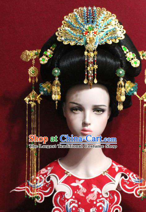 Traditional Chinese Ancient Queen Cloisonne Phoenix Coronet Handmade Hair Jewelry Tassel Hairpins Hair Accessories Complete Set