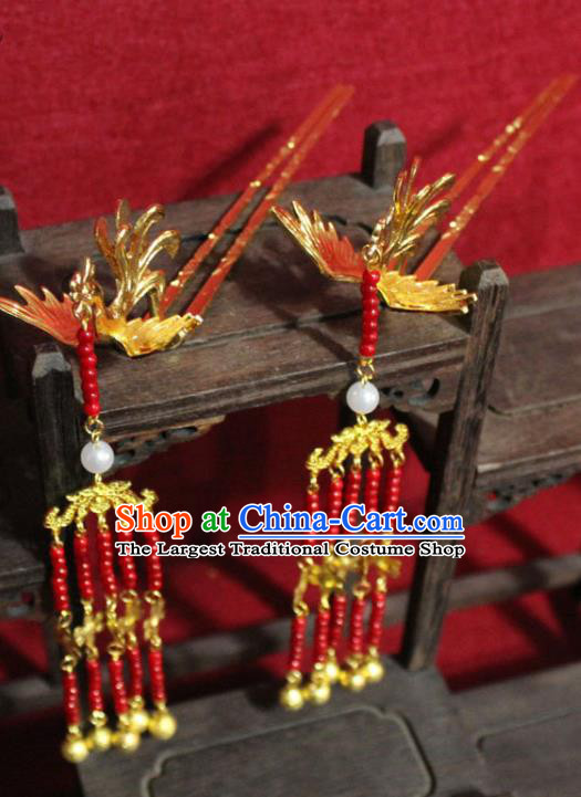 Traditional Chinese Handmade Red Beads Tassel Hairpin Ancient Queen Golden Phoenix Hairpin Hair Accessories for Women