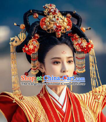 Traditional Chinese Ancient Imperial Consort Phoenix Coronet Handmade Hair Jewelry Tassel Hairpins Hair Accessories Complete Set
