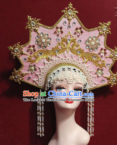 Traditional Chinese Ancient Queen Pink Phoenix Coronet Handmade Hair Jewelry Tassel Hair Accessories Complete Set