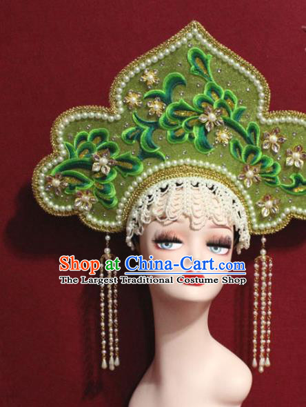 Traditional Chinese Ancient Queen Green Phoenix Coronet Handmade Hair Jewelry Tassel Hair Accessories Complete Set