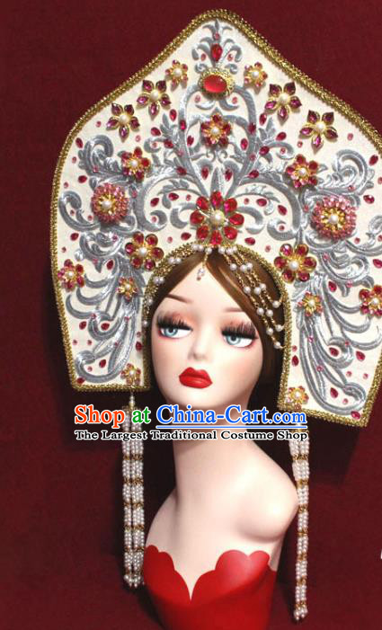 Traditional Chinese Ancient Queen White Phoenix Coronet Handmade Hair Jewelry Tassel Hair Accessories Complete Set
