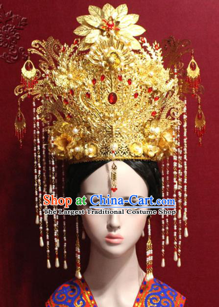 Traditional Chinese Ancient Queen Pearls Tassel Phoenix Coronet Handmade Hair Jewelry Hairpins Golden Hair Accessories Complete Set