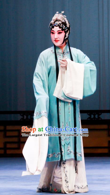 Chinese Ping Opera Hua Tan Apparels Costumes and Headpieces Shao Gu Ji Traditional Pingju Opera Actress Green Dress Garment