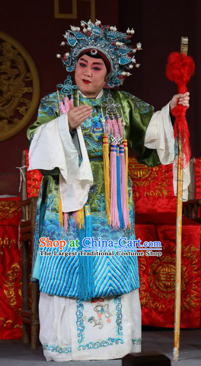 Chinese Sichuan Opera Elderly Female Garment Costumes and Hair Accessories Traditional Peking Opera Return of the Phoenix Dame Dress Pantaloon Apparels