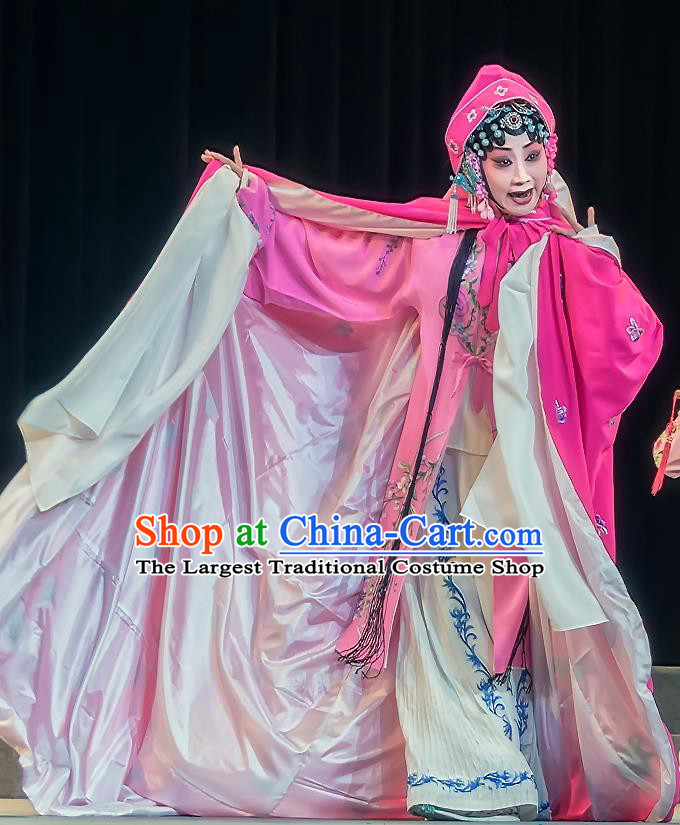 Chinese Sichuan Opera Hua Tan Garment Zhuo Wenjun Costumes and Hair Accessories Traditional Peking Opera Young Female Rosy Dress Actress Apparels
