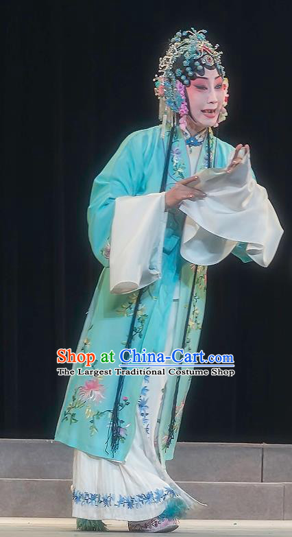 Chinese Sichuan Opera Rich Female Garment Zhuo Wenjun Costumes and Hair Accessories Traditional Peking Opera Hua Tan Blue Dress Diva Apparels