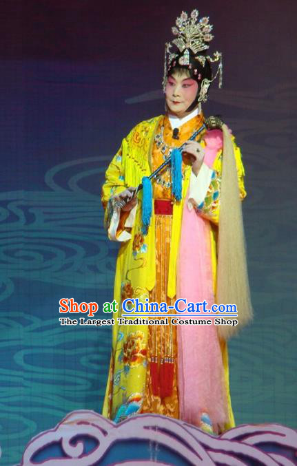 Chinese Beijing Opera Actress Apparels Costumes and Headdress Xiang Jiuxiao Traditional Peking Opera Buddha Goddess Dress Garment