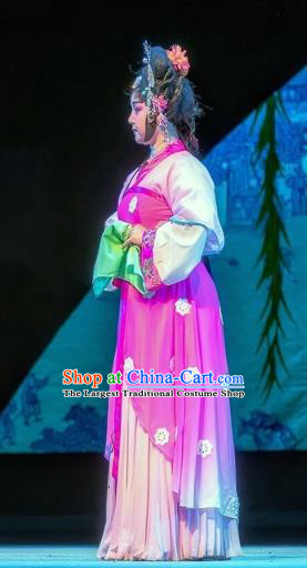 Chinese Sichuan Opera Servant Girl Garment Costumes and Hair Accessories Bao En Ji Traditional Peking Opera Xiaodan Dress Young Lady Apparels