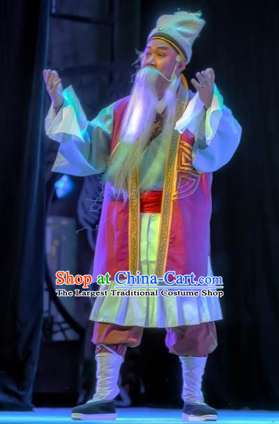 Bao En Ji Chinese Sichuan Opera Elderly Man Apparels Costumes and Headpieces Peking Opera Old Servant Garment Clothing
