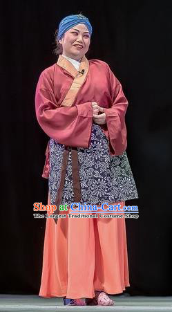 Chinese Sichuan Opera Elderly Woman Garment Costumes and Hair Accessories Bao En Ji Traditional Peking Opera Old Female Servant Dress Apparels