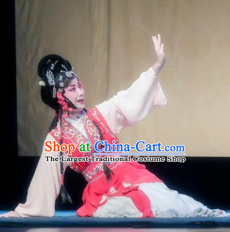 Chinese Sichuan Opera Maidservant Hong Niang Garment Costumes and Hair Accessories Kao Hong Traditional Peking Opera Young Lady Dress Xiaodan Apparels