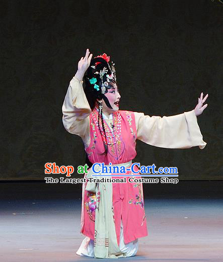 Chinese Sichuan Opera Xiaodan Garment Costumes and Hair Accessories Kao Hong Traditional Peking Opera Young Lady Dress Servant Girl Apparels