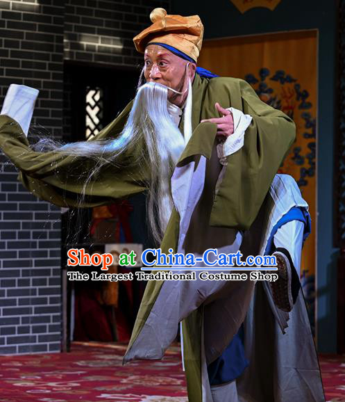 Cao Fu Zou Xue Chinese Sichuan Opera Old Servant Apparels Costumes and Headpieces Peking Opera Elderly Male Garment Clothing