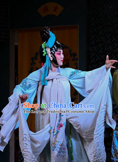 Chinese Sichuan Opera Actress Garment Costumes and Hair Accessories Cao Fu Zou Xue Traditional Peking Opera Young Lady Dress Hua Tan Cao Yue E Apparels