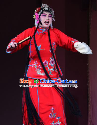 Chinese Sichuan Opera Rich Female Garment Costumes and Hair Accessories Ni Bi Tower Traditional Peking Opera Actress Red Dress Diva Fan Yue E Apparels