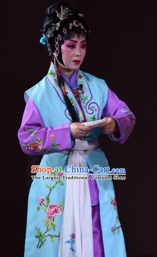 Chinese Sichuan Opera Maid Lady Garment Costumes and Hair Accessories Ni Bi Tower Traditional Peking Opera Xiaodan Dress Servant Girl Wang Cuiqiao Apparels