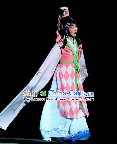 Chinese Sichuan Opera Young Lady Garment Costumes and Hair Accessories The Jade Hairpin Traditional Peking Opera Hua Tan Dress Diva Chen Jiaolian Apparels