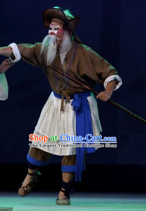 The Jade Hairpin Chinese Sichuan Opera Old Man Apparels Costumes and Headpieces Peking Opera Boatman Garment Clothing