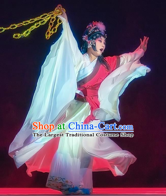 Chinese Sichuan Opera Distress Woman Garment Costumes and Hair Accessories Mother of Mu Lian Traditional Peking Opera Actress Dress Diva Liu Siniang Apparels