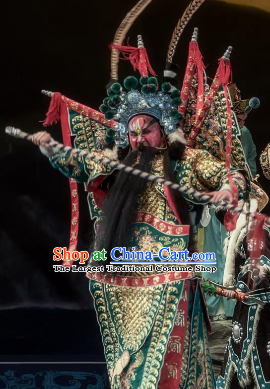Shuang Ba Lang Chinese Sichuan Opera General Yang Jiye Apparels Costumes and Headpieces Peking Opera Painted Role Garment Green Kao Clothing with Flags