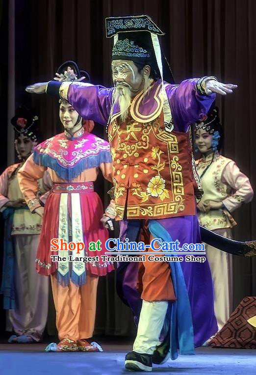 Shuang Ba Lang Chinese Sichuan Opera Old Soldier Apparels Costumes and Headpieces Peking Opera Elderly Male Garment Clothing