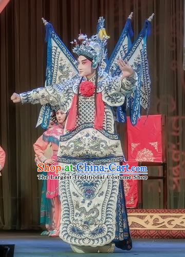 Shuang Ba Lang Chinese Sichuan Opera General Wang Rong Kao Apparels Costumes and Headpieces Peking Opera Armor Garment Clothing with Flags