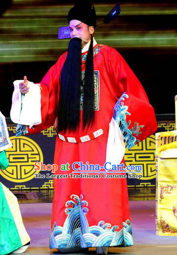 Shuang Tian Guan Chinese Sichuan Opera Elderly Male Apparels Costumes and Headpieces Peking Opera Official Kou Zhun Garment Clothing
