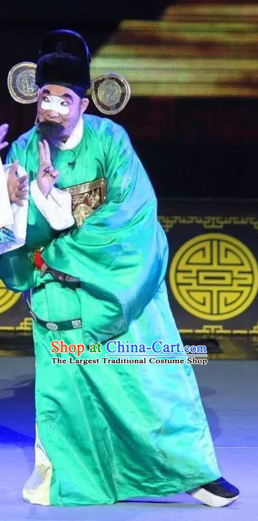 Shuang Tian Guan Chinese Sichuan Opera Clown Apparels Costumes and Headpieces Peking Opera Official Liu Tianguan Garment Magistrate Clothing