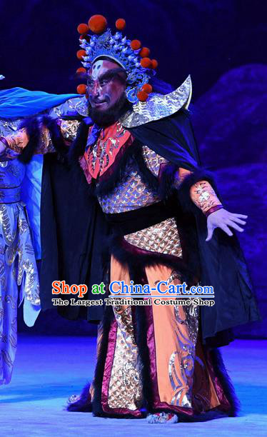 Ma Zu Chinese Peking Opera Monster Armor Garment Costumes and Headwear Beijing Opera Martial Male Apparels Clothing