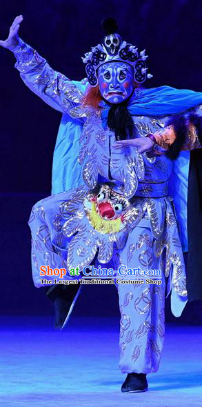 Ma Zu Chinese Peking Opera Martial Male Garment Costumes and Headwear Beijing Opera Wusheng Apparels Clothing