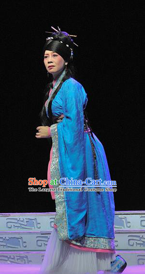 Chinese Sichuan Opera Young Female Garment Costumes and Hair Accessories Xi Zhao Qi Shan Traditional Peking Opera Actress Blue Dress Apparels