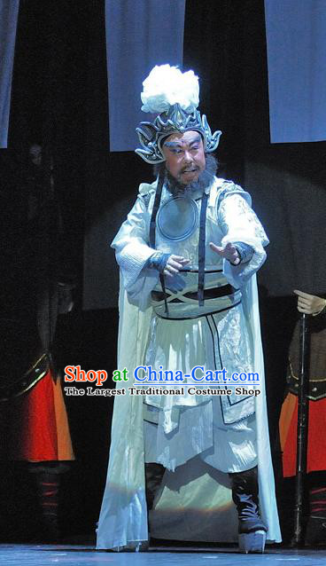 Xi Zhao Qi Shan Chinese Sichuan Opera Elderly Male Apparels Costumes and Headpieces Peking Opera General Wei Yan Garment Armor Clothing