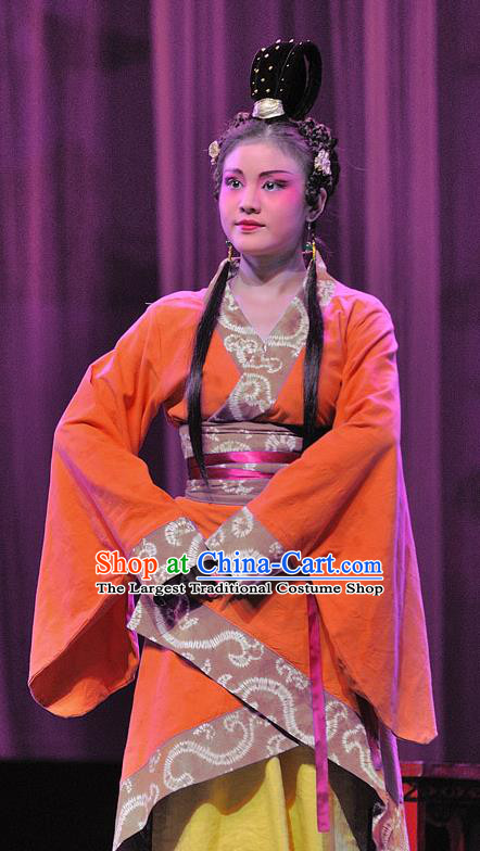 Chinese Sichuan Opera Maidservant Garment Costumes and Hair Accessories Xi Zhao Qi Shan Traditional Peking Opera Xiaodan Dress Apparels