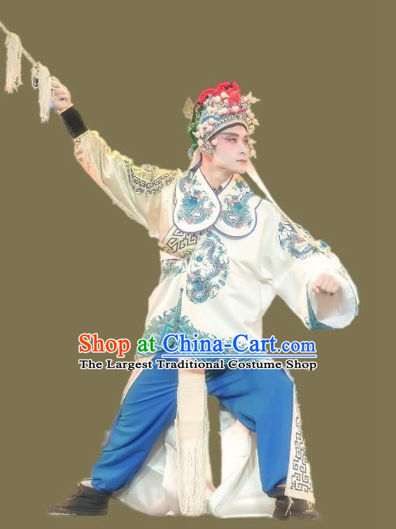 Shuang Tian Guan Chinese Sichuan Opera Swordsman Apparels Costumes and Headpieces Peking Opera Martial Man Garment Wusheng Clothing