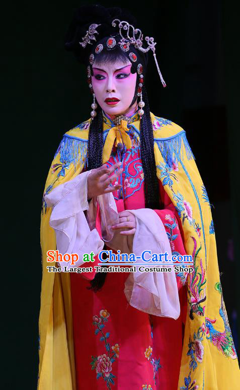 Chinese Sichuan Opera Actress Garment Costumes and Hair Accessories The Lotus Lantern Traditional Peking Opera Hua Tan Dress Goddess Apparels