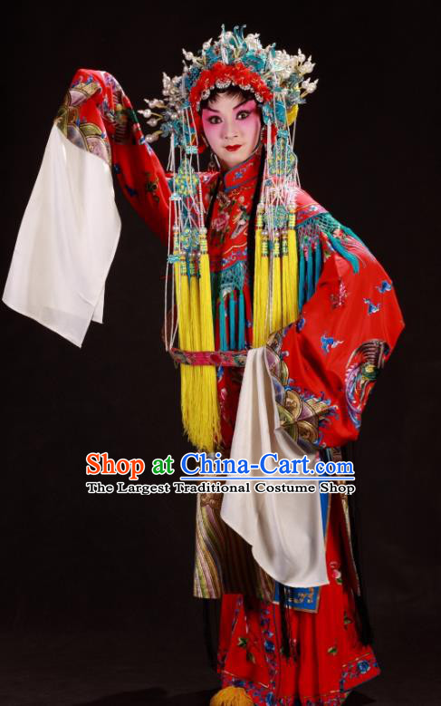 Chinese Sichuan Opera Hua Tan Garment Costumes and Hair Accessories Qing Yun Palace Traditional Peking Opera Queen Xi Hui Red Dress Apparels