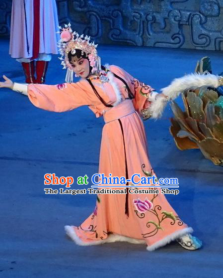 Chinese Sichuan Opera Young Lady Garment Costumes and Hair Accessories Qing Yun Palace Traditional Peking Opera Xiaodan Jin Yue E Orange Dress Apparels