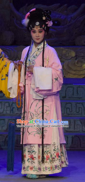 Chinese Sichuan Opera Actress Garment Costumes and Hair Accessories Qing Yun Palace Traditional Peking Opera Imperial Consort Pink Dress Hua Tan Apparels