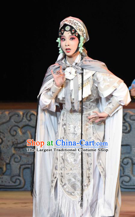 Chinese Sichuan Opera Swordswoman Garment Costumes and Hair Accessories Qing Yun Palace Traditional Peking Opera Martial Female Miao Yinhua Dress Apparels