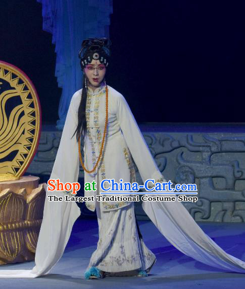 Chinese Sichuan Opera Distress Maiden Garment Costumes and Hair Accessories Qing Yun Palace Traditional Peking Opera Actress Dress Queen Xi Hui Apparels