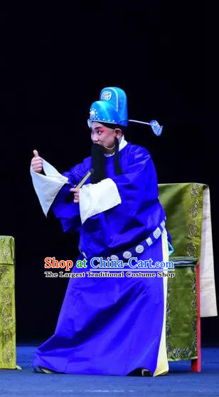 Yu He Qiao Chinese Sichuan Opera Official Apparels Costumes and Headpieces Peking Opera Laosheng Garment Elderly Male Clothing