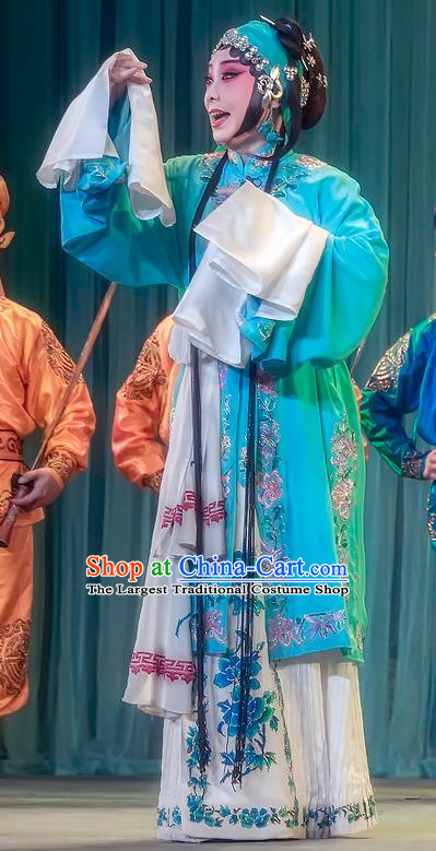 Chinese Sichuan Opera Young Woman Geng Niang Garment Costumes and Hair Accessories Da Hong Tai Traditional Peking Opera Distress Maiden Dress Actress Apparels