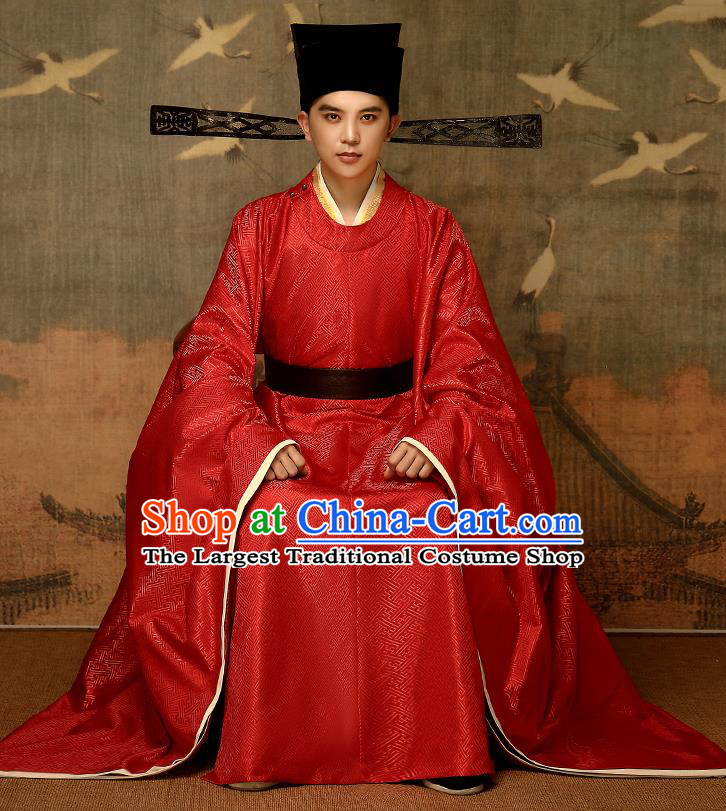 Chinese Traditional Song Dynasty Emperor Red Hanfu Garment Ancient Drama Monarch Historical Costumes and Headwear Complete Set