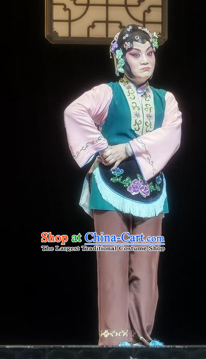 Chinese Sichuan Opera Female Servant Garment Costumes and Hair Accessories Mother of Mu Lian Traditional Peking Opera Maid Woman Dress Apparels