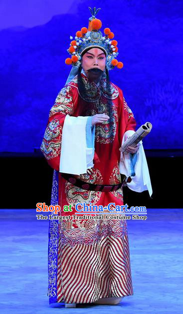 Mrs Anguo Chinese Peking Opera Elderly Male Han Shizhong Garment Costumes and Headwear Beijing Opera Official Apparels Clothing
