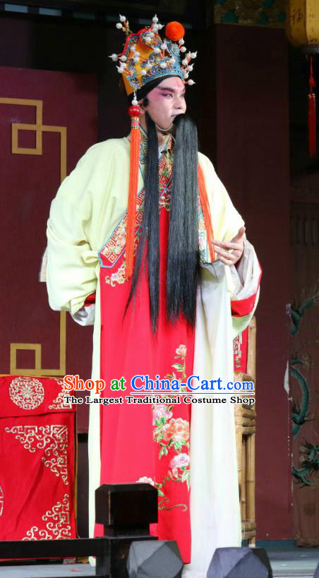 The Palace of Eternal Youth Love Chinese Sichuan Opera Emperor Apparels Costumes and Headpieces Peking Opera Elderly Male Garment Laosheng Clothing